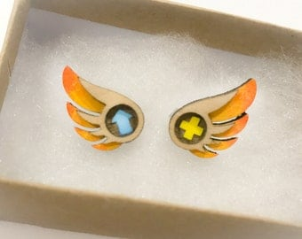Cute Healer Mercy Support Wing Overwatch Inspired Stud Earrings