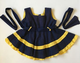 Vintage Cater Frock Navy Yellow Dress Girls 6-12 months