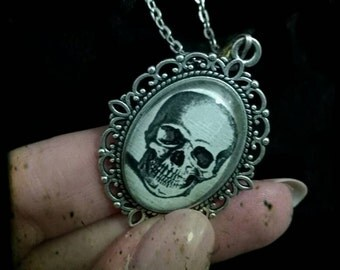 Cameo with skull on silver base, gothic necklace photo cammeo