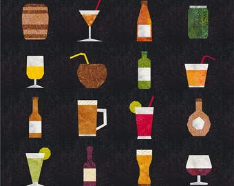 Drink Up! - 16 Quilt Block Patterns - Foundation Paper Piece Patch - PDF Download - Cocktail, Beer, Wine, Coconut, Bar