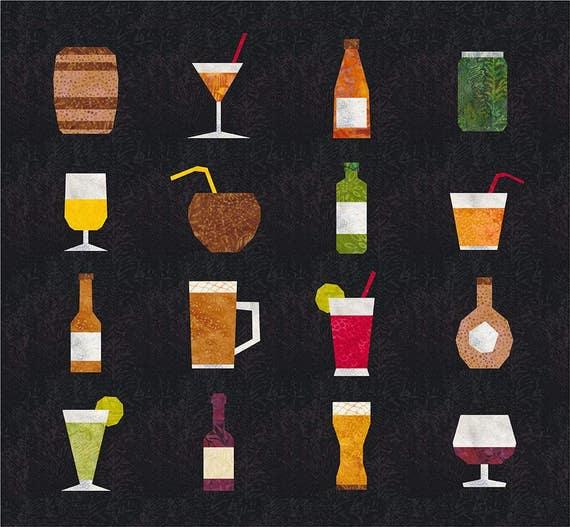 Drink Up 16 Quilt Block Patterns Foundation Paper