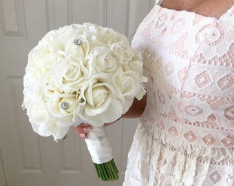 Cream Real Touch Rose Bouquet, Real Touch Rose Bouquet, Bling Bouquet, White Rose Bridal Bouquet, Cream Bouquet, Cream Rose Bouquet, Whi