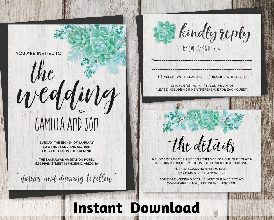 succulent wedding invitation templates printable