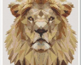 Lion Cross Stitch Pattern, Lion x stitch pattern, colorfull Cross stitch Embroidery, Embroidery pattern