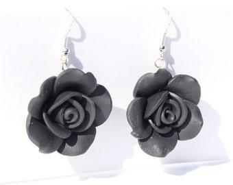 black rose earrings rose dangle earrings flower earrings black earrings summer jewellery black flower earrings gardeners gift mothers day