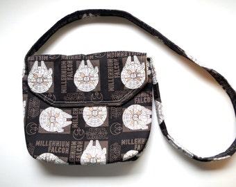 Youth sized millennium falcon messenger bag