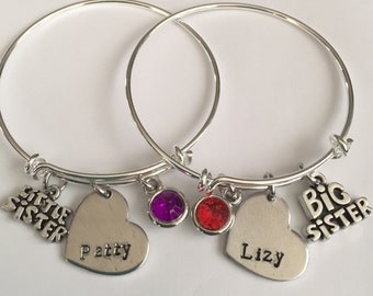 Little sister big sister or middle sister bracelet -sister bracelet-custom sister bracelet