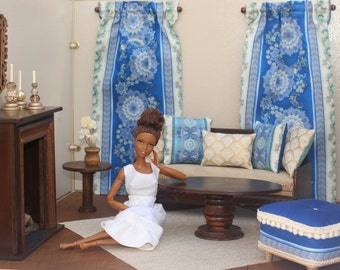 Barbie 1:6 Scale Dollhouse Accessories, Ottoman, Pillows, Curtains, Plants, Candlesticks, Blue and Ivory