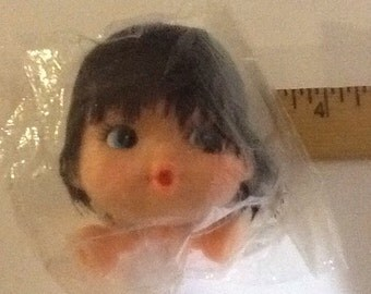 "Vintage, midcentury,  3"" plastic Doll Head and Hands, brown black hair, blue eyes, NOS"