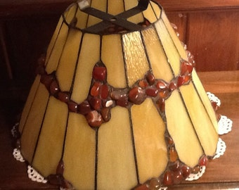 """Mission Style, Arts and Crafts, Stained Glass Lampshade, slag glass, polished agates, pebbles, yellow, rust, 13 3/4"""" shade"""