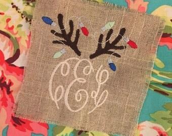 Christmas Reindeer Monogram Comfort Colors Shirt