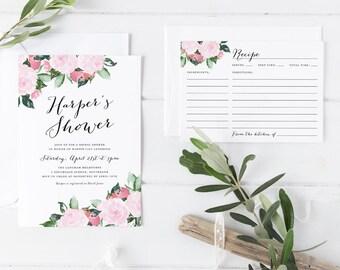 Printable Bridal Shower Invitation Set, Pink Rose Pastel Blush Bridal Shower Invitation with Matching Recipe Card