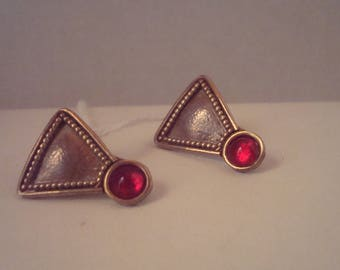 """Vintage sterling earrings with red """"stone"""""""