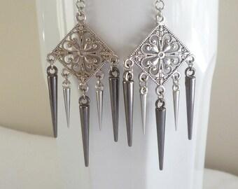 Spike earrings,silver earrings,pewter spike, chandelier earrings,dropper,boho,punk,filigree,gift,handmade,multi spike,mixed metal,spikes