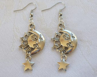 Sun, moon & stars earrings, sun earrings, moon earrings, wiccan jewelry,charm earrings, pagan,sun jewelry,gift,moon jewelry,silver moon