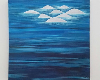 Pod of Belugas 12 x 12 acrylic on gallery-wrapped canvas painting, hand painted