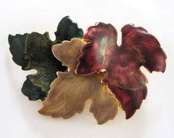 Vintage Maple Leaves Pin Green Tan Burgundy MOD Brooch