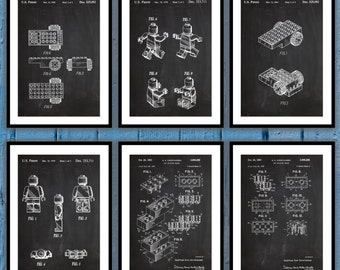 Lego Posters set of 6 , Lego Patent, Lego Blueprint, Lego Art, Lego Print, Lego Decor, Lego Artwork, Lego kids room Decor, Legman, sp68