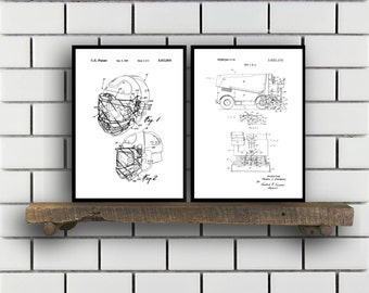 Hockey Patents Set of 2 Prints, Hockey Prints, Hockey Posters, Hockey Blueprints, Hockey Art, Hockey Wall Art, Sport Prints, Sport Art,Sp297