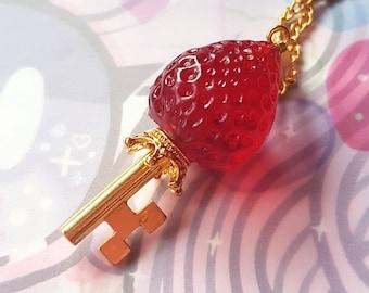 Magical Strawberry Key Necklace - Sweet Lolita Fairy Kei Fruit Ichigo Jewelry