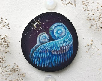 Mama and Baby owl | Original painting on wood | MADE TO ORDER