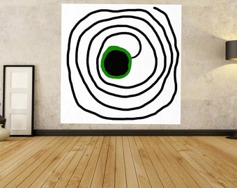 Green Painting square Acrylic Painting On Canvas, Minimalist Painting Canvas Art, Spiral circle Abstract, Minimalism, Original Art Geometric