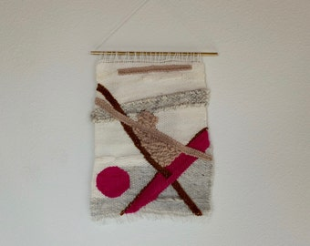 Handmade, one of a kind, pink, white, weave, wall hanging, tapestry.