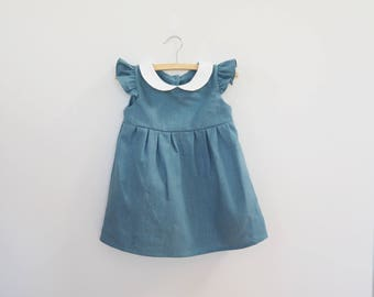 Girls Linen Dress in Teal Blue with White Peter Pan Collar, Girl Baby Girl Toddler Classic Dress, 1st Birthday Outfit, Spring Fall Fashion