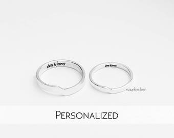 Fracture  | Couples Ring | Promise Rings For Couples | His and Her Promise Rings | Personalized | Couple Ring Set