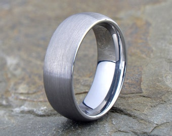 Brushed Tungsten Ring, Tungsten Wedding Band, Domed, Custom Laser Engraving, 8mm, Comfort fit, Anniversary, Brushed Tungsten Wedding Band