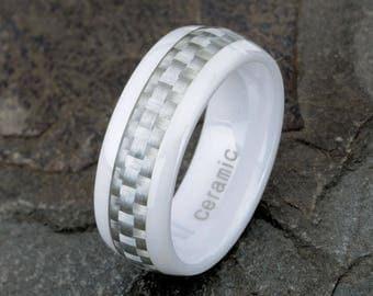 White Ceramic Wedding Ring, Carbon Fiber Ring, Mens Women's Ceramic Ring, Carbon Ring, Wedding Ring, Custom Engraved Ring, 8mm Band