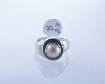 Pearl Sterling Silver Ring, June Birthstone Ring