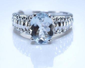 Aquamarine Sterling Silver Ring, Rhodium Plated, Natural Gemstone, March Birthstone