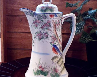 Beautiful Vintage Japanese Chocolate Pot Hand Painted Blue Bird Cherry Blossom Tree and Landscape