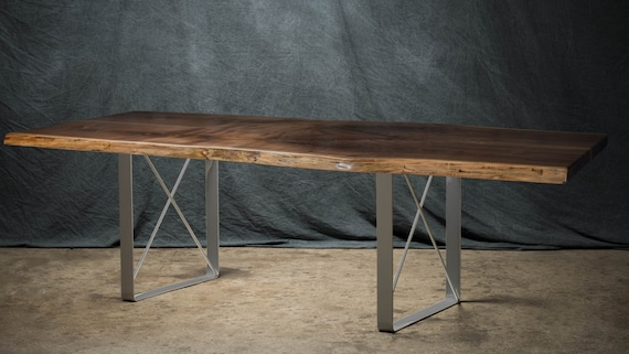 wood dining table with black metal legs set shaped industrial steel rod cross pieces free shipping nz home depot