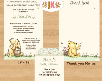 Classic Winnie the Pooh  Baby Shower Printed Invitations Boy