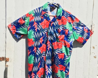 Vintage 80s 90s Hawaiian Button Up Shirt Red Tropical Size Large