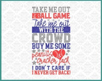 CLN0327 Take Me Out To The Ball Game Baseball Softball SVG DXF Ai Eps PNG Vector Instant Download Commercial Cut File Cricut Silhouette