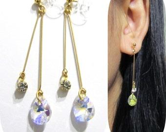 AB Swarovski rhinestone clip on earrings |11F| non pierced bridal clip-ons dangle drop earrings, Gold Comfortable Wedding clip on earrings
