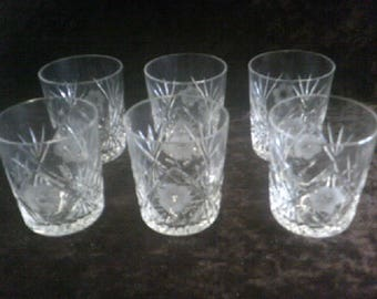 Crystal Glass Etched Whisky Glasses Set of 6