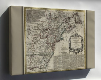 Canvas 24x36; 1763 Map Of North America United States Colonies
