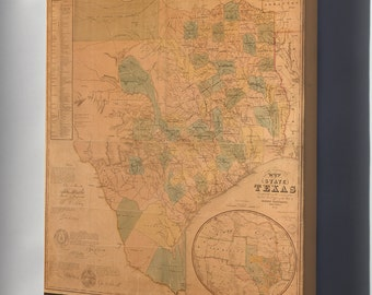 Canvas 24x36; Map Of The State Of Texas 1853 P2