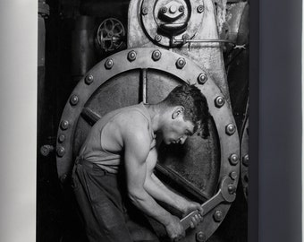 Canvas 24x36; Power House Mechanic Lewis Hine, 1920. Power House Mechanic Working On Steam Pump