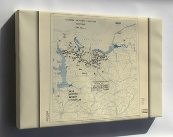 Canvas 16x24; July 4, 1944 Battle Of Normandy Map