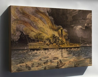 Canvas 16x24; Steamboat Lexington By Currier And Ives