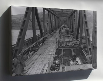 Canvas 16x24; U.S. First Army, Remagen Bridge, Rhine River March 1945
