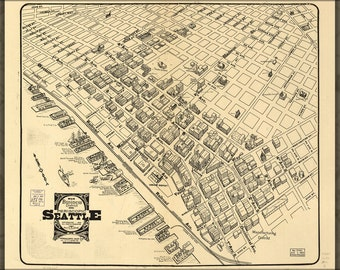 16x24 Poster; Map Of Main Business District Seattle 1903