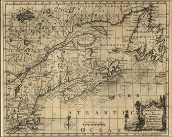 16x24 Poster; Map Of New England, And Nova Scotia 1758