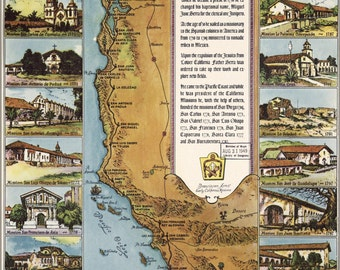 16x24 Poster; Map Of California Missions 1949