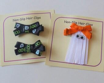 """Halloween Hair Clips - Non Slip Grip - Hair Accessory - Barrettes - Hair Bows - Ghost Hair Clip - Hair Bow Set - """"Boo"""" Hair Bows"""